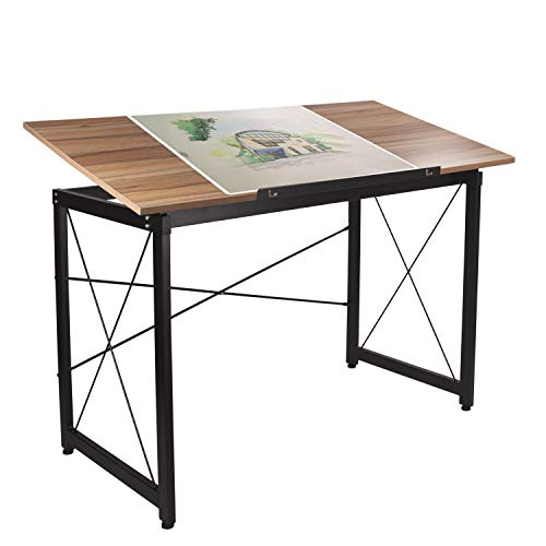 H&A 47'x 24' Tiltable Drawing Desk Drafting Table Wood Surface Craft Station Versatile for Painting Writing Studying and Reading (Maple)