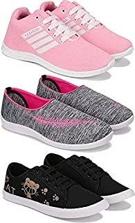 Shoefly Women's (5046-5054-5052) Multicolor Casual Sports Running (Set of 3 Pair)