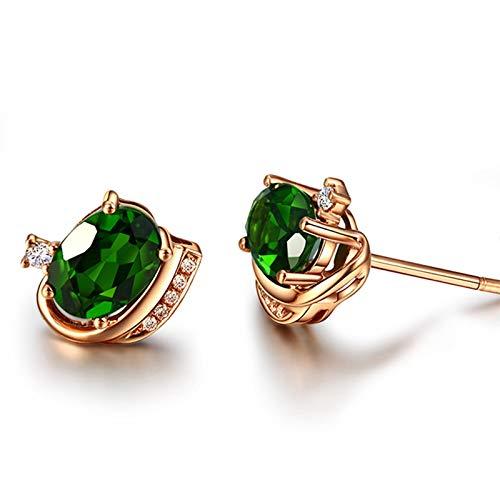 KnSam Boucle d'Oreille Femme Fine Massite 1.75ct Diamant Simple Fantaisie, Or Rose 18 Carats Élégance Cadeau Noël