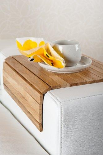moebelhome Sofatablett, Armlehnen Ablage Tablett, Eiche Massiv-Holz, Armlehnenschoner NEU