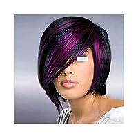 ブルゾンちえみ かつら Y DWANYE斜め前髪ストレート髪ショートヘアヨーロッパやアメリカのかつらブラックウィッグブラックパープルコスプレショートヘアウィッグ