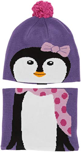 Columbia Kids' Toddler Snow More Hat and Gaiter Set, grape gum penguin, One Size