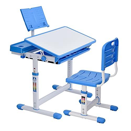 Schreibtisch Kinder mit Stuhl, Kinderschreibtisch HöHenverstellbar MäDchen Jungen, Studienschalter SchüLerschreibtisch für Kinder mit Kipptisch Schublade BuchstäNder GeträNkehalter, 60-74cm Hoch, Blau