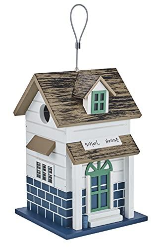 kamelshopping Farbenfohes Vogelhaus aus Echtholz gefertigt, Vogelvilla zum Hängen, Nistkasten für Garten und Balkon (School House)