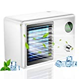 Portable Air Conditioner Fan Personal,2000mA Evaporative Air Cooler and Humidifier,Purify Space 400ml Water Tank 3 Speeds Spray type Fan with 7 Colors Night Lightfor Room,Travel, Office,Car