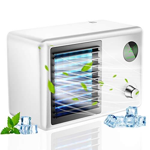 Ventilatore portatile per condizionatore d'aria, umidifica e purifica lo spazio Serbatoio dell'acqua da 400 ml con luce LED a colori e 3 velocità del vento per ufficio da viaggio in camera
