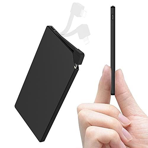 Auskang Power Bank 5000mAh con Cavo compatibile solo con iPhone [2 in 1], batteria esterna ultra sottile e ultra leggera, Caricabatterie Portatile [spessore/6 mm, peso: 115 g]