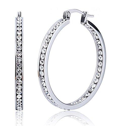 Paio di orecchini a cerchio grandi in acciaio, orecchini pendenti con strass, diametro 40 mm-55 mm, per donna, argento bianco e acciaio inossidabile, colore: 40 mm, cod. XQ-mum-a11