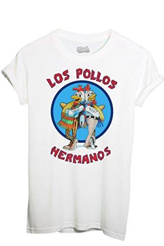 """Mush-Maglietta con stampa e scritta """"los Pollos Hermanos"""" (disponibilità in italiano non garantita), bianco, Homme-M"""
