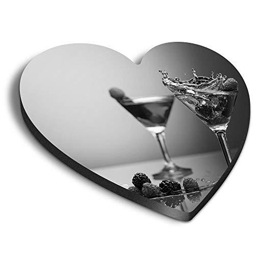 Destination Vinyl ltd Imanes de MDF de corazón - BW - Cóctel Bebidas Bebidas para Oficina, Armario y Pizarra Blanca, Pegatinas Magnéticas 41375