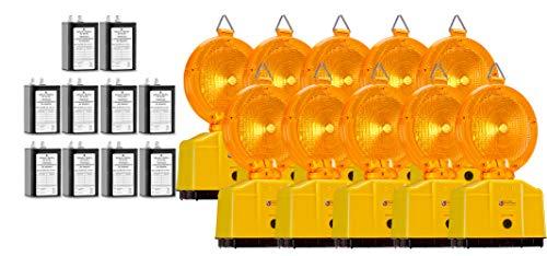 10 Stück Baustellenleuchten Warnleuchten mit Dämmerungsfunktion gelb, LED inkl. 2 Lampenschlüssel (inkl. 50Ah Batterien)