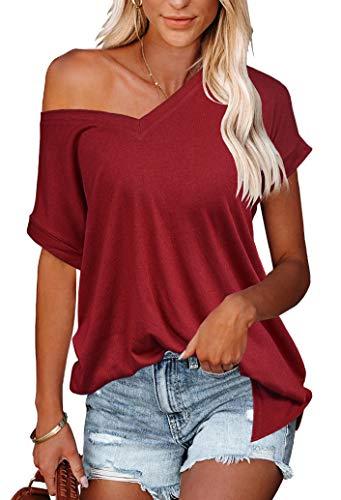 Odosalii Damen V-Ausschnitt T-Shirts Sommer Shirt Kurzarm Longshirt Shirt Oversize Sexy Oberteile Tops Bluse