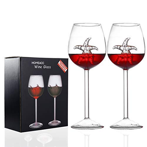 2 Pack Starfish Wine Glasses 10 OZ Crystal Goblets Red Wine Glasses Novelty Great Gift for Women Men Wedding Anniversary New Year Christmas Birthday Party