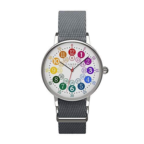 Cander Berlin MNA 1030 G Kinderarmbanduhr Kinderuhr Armbanduhr grau Mädchen Jungen Armbanduhr Uhr 12-/24-Stunden