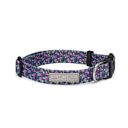 Lucky Love Dog | Comfortable, Soft, Cute Female Dog Collar for Medium Dogs - Adjustable Nylon Collar - Black & Purple Primrose Floral Print, Medium