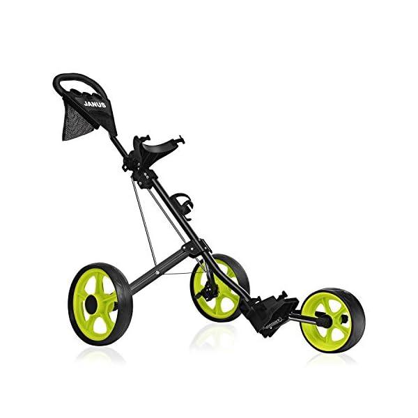 Janus Golf Push Cart, Golf cart for Golf Bag, Golf Pull cart for Golf Clubs, Golf Push carts 3 Wheel Folding, Golf Accessories for Men Women/Kids Golf Clubs Golf cart Accessories and necessitie