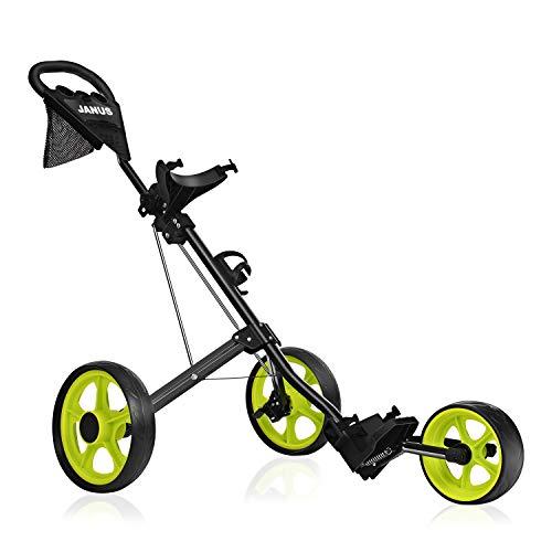 JANUS Golf Push Cart, Golf cart for Golf Bag, Golf Pull cart for Golf Clubs, Golf Push carts 3 Wheel Folding, Golf Accessories for Women and Men
