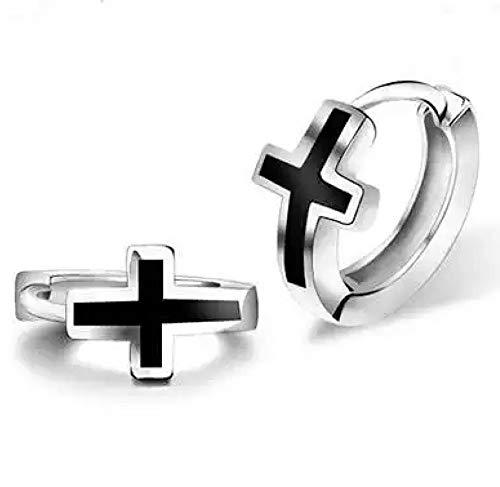 AT Jewellery - Pendientes de aro unisex de plata de ley 925 con cruz negra de 12 mm