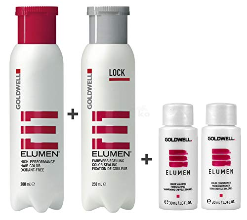 Goldwell Elumen Haarfarbe [Gn@all Grün] 200ml + 250ml Lock Versiegelung + 30ml Color Shampoo + 30ml Color Conditioner