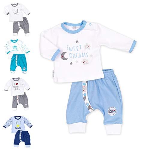 Baby Sweets 2er Baby-Set mit Hose & Shirt für Jungen/Baby-Erstausstattung in Blau & Weiß mit Mond-Sterne-Motiv/Baby-Kleidung aus Baumwolle für Neugeborene & Kleinkinder/Größe 1 Monat (56)
