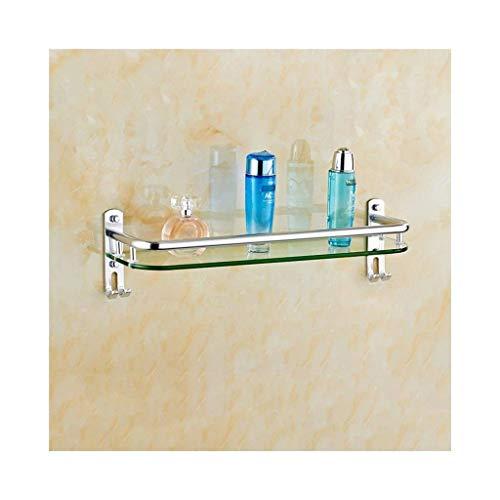 ChangHua1 Estantes de ba?o rectangulares Organizador de Cesta de Ducha montado en la Pared Estante de Vidrio de 8 mm, Aluminio Cepillado (Tama?o: 50 cm) (Size : 40cm)