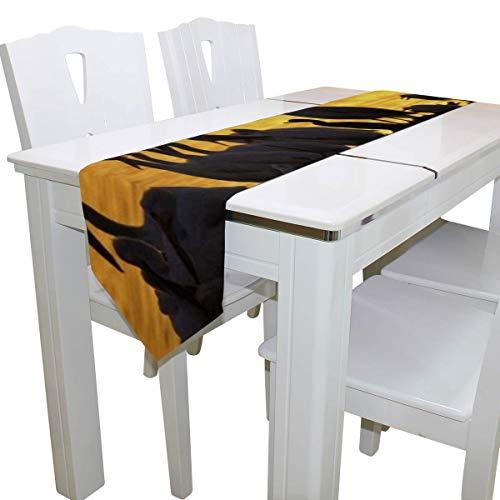 N/A Eettafel Runner Of Dresser Sjaal, Pelikanen Zonsondergang Vogels Lake Deck Tafelkleed Runner Koffie Mat voor Bruiloft Partij Banket Decoratie 13 x 90 inch