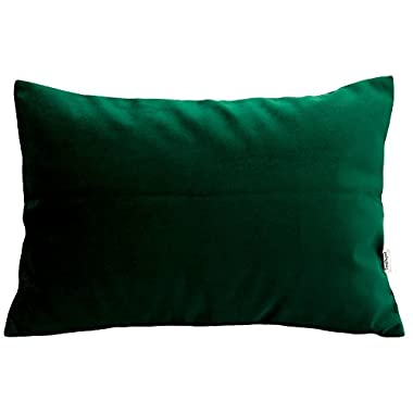 TangDepot Solid Velvet Throw Pillow Cover/Euro Sham/Cushion Sham, Super Luxury Soft Pillow Cases, Many Color & Size options - (12 x18 , Dark Green)