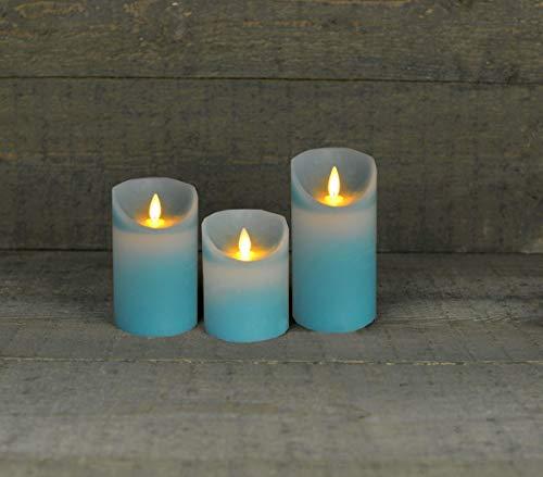 Coen Bakker 3er Set Kerze LED Echtwachskerze 10 cm + 12,5 cm + 15 cm Kerze Ø 7,5 cm viele Farben mit Timer flackender Docht Wachskerze Kerzen, Farbe:Aqua