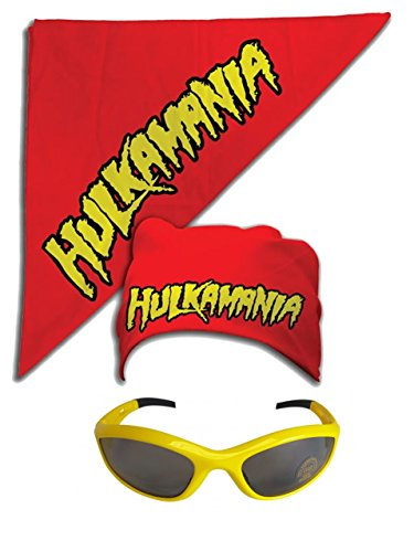 Hulk Hogan Hulkamania Bandana Sunglasses Costume -Red-Yellow