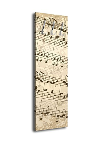 Wandmotiv24   Perchero con diseño de notas musicales G119 (40 x 125 cm)
