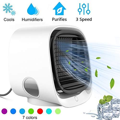 Mini Aire Acondicionado Portátil, Mini Ventilador Humidificador Purificador de Aire, 7 Colores Luces LED Refrigeración USB de 3 Velocidades para Hogar Oficina Acampadawhite