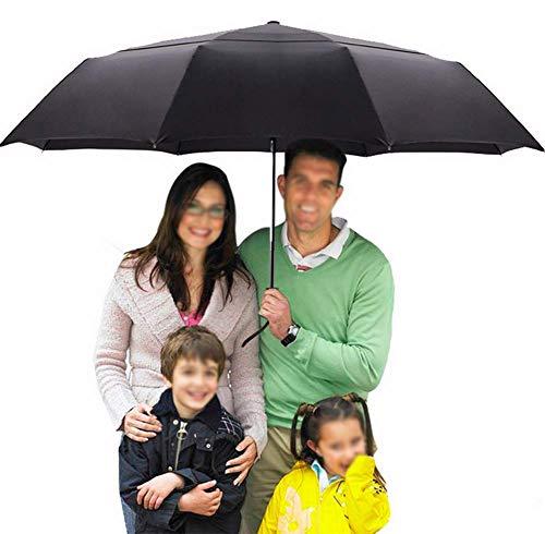 HYFZY Dreifachgefalteter, doppelschichtiger, automatischer Regenschirm, übergroßer Taschenschirm, winddichter Herren-Werbegeschenk-Regenschirm