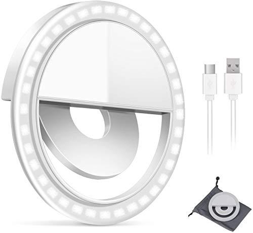 GIM Selfie Licht Ringleuchte Handy Tablet Universell Ringlicht Dimmbar 3 Stufen Wiederaufladbar