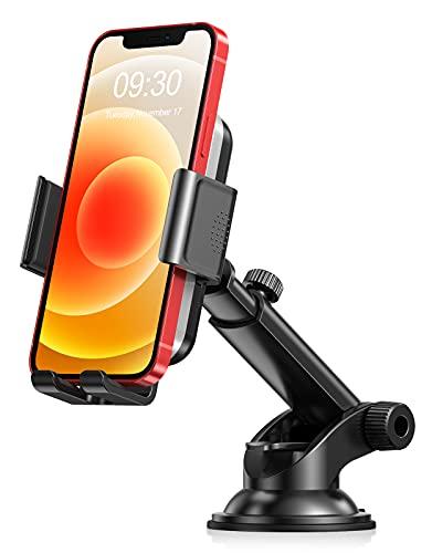 Cocoda Soporte Movil Coche, Salpicadero/Parabrisas Soporte Móvil para Coche, 360° Rotación Brazo Extensible Sujeta Movil Coche Compatible con iPhone 12 Mini/12/12 Pro/12 Pro MAX