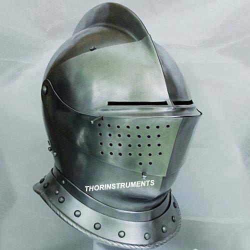 THORINSTRUMENTS (with device) Medieval Knight Tournament Close Armor Helmet Replica Halloween Role Play Gift