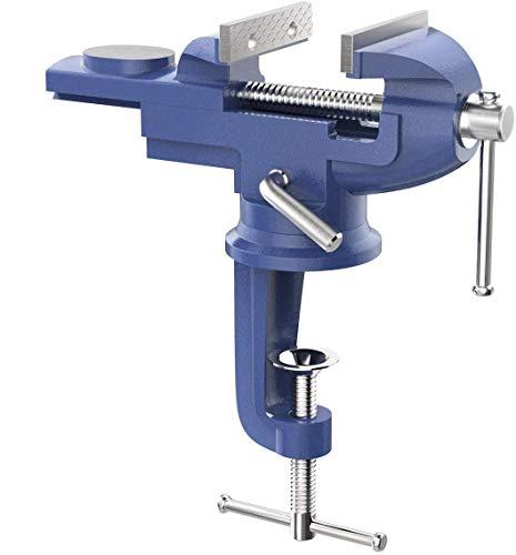 バイス 万力 Housolution 卓上バイス クランプ万力 70mm 使いやすい 360°回転式 角度任意調整可能 切削 研磨 切断 加工 固定 締め工具 青色