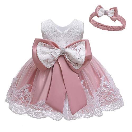 Unbekannt Allence Baby Mädchen Bowknot Spitze Prinzessin Kleid 2tlg Set Bowknot Spitze Taufkleid Festlich Kleid Hochzeit Party Festzug Taufe Tutu Kleid 0-2 Jahre (6M/3-6 Monate, Wassermelone Rot)