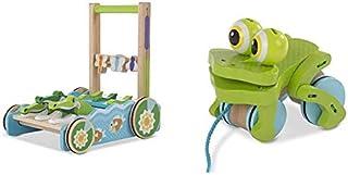 Melissa & Doug Chomp & Clack Alligator Push Toy - Light Blue & Frolicking Frog Pull Toy