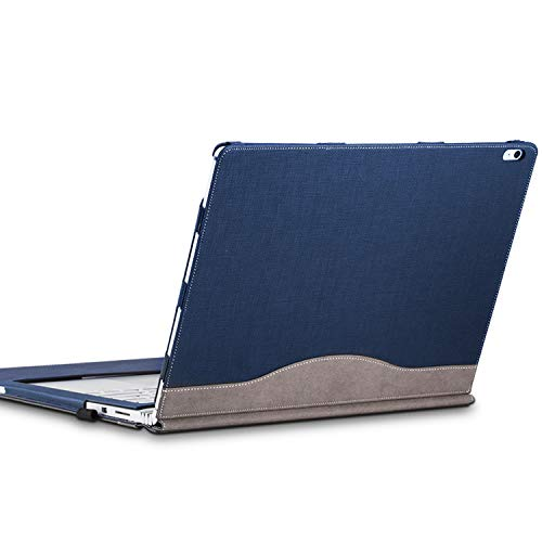 forubar Laptop Cover Case for Microsoft Surface Book 2 15 inch – Premium PU Leather Detachable Protective Flip Folio Case, Two Ways to use (Surface Book 2 15-inch, Blue)