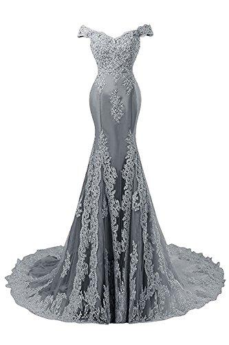 JAEDEN Ballkleider Abendkleider Meerjungfrau Lang Hochzeitskleider Schulterfrei Satin mit Schleppe Grau EUR34