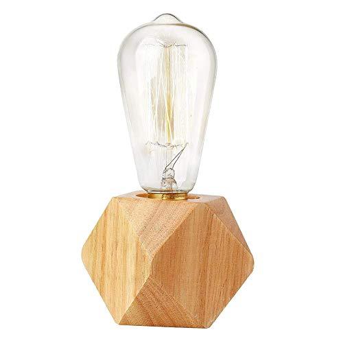 Lámpara de mesita de Noche, Base de lámpara de Madera Regulable, polígono, lámpara de Mesa Industrial Vintage, luz de Noche, para Sala de Estar, Dormitorio, Oficina, iluminación, decoración