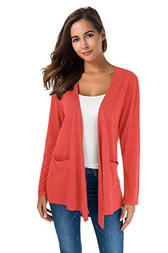 TownCat Cardigans for Women Loose Casual Long Sleeved Open Front Breathable Cardigans with Pocket (Coral, M)