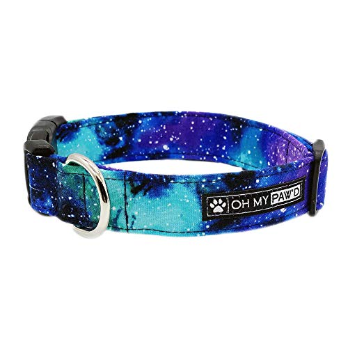 Galaxy Print Collar for Pets Size Extra Small with Extra Length 5/8 Inch Wide and 12-17 Inches Long - Hand Made Dog Collar by Oh My Paw'd