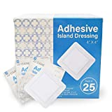 JJ CARE [Pack of 25] Adhesive Island Dressing 4' x 4', Sterile & Breathable Bordered Adhesive Gauze Bandages Pads, Ultra Absorbent Wound Dressing, Latex Free, Individually Wrapped Gauze Dressing