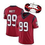 RHSD T-Shirt de Football américain Adulte, Maillot de Rugby Watt 99, Uniforme de Rugby des Fans, Bracelet de même Style, édition Collector limitée, Nettoyage répétable-Red-L