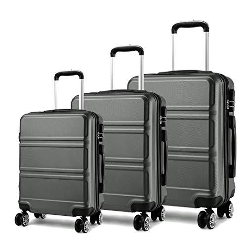 Kono Juego Set 3 Maletas Trolley Rígida ABS Equipajes de Viaje (55cm,66cm,74cm)-Gris