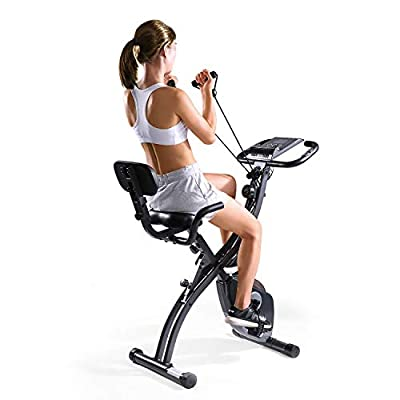 MaxKare Foldable Semi Recumbent Magnetic Upright Exercise Bike w/Pulse Rate Monitoring, Adjustable Arm Resistance Bands and LCD Monitor