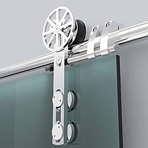 GWXFHT Schiebetürbeschlag Set 150-300cm Glasschiebetür Edelstahl-Aufhängeschienen-Hardware-Kit, Scheunentor-Gleitschienen-Stummschaltleiste für Toilette/Küche/Bad (Size : 6.6ft/200cm Single Door kit)