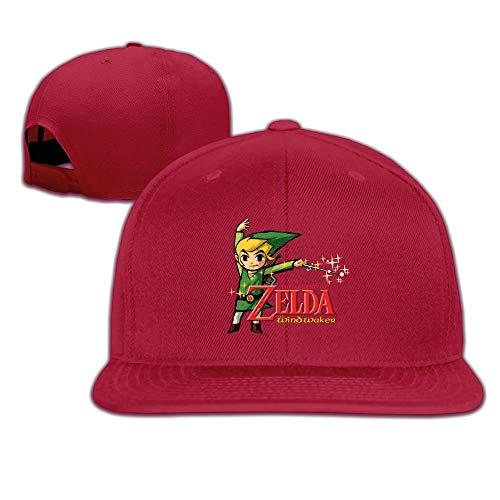 ゼルダの伝説風のタクトHDフラットビルスナップバック調節可能旅行用帽子赤
