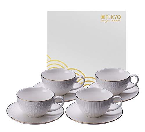 TOKYO design studio Nippon White Set di 4 Tazze Bianche con piattini, con Bordo in Oro, Ø 9 cm, Altezza 5,6 cm, 180 ml, Porcellana Asiatica, Design Giapponese, Confezione Regalo Inclusa.